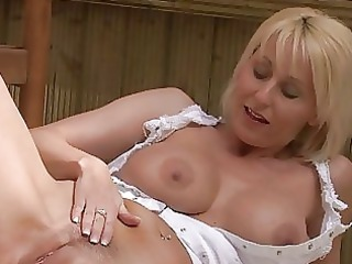 filthy blonde momma with large bosom in colorless