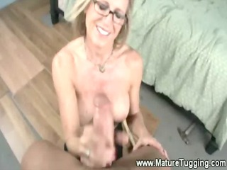 mature in spex loves yanking difficult cock