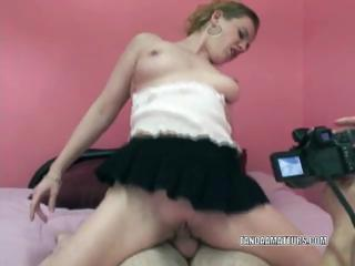 milf chastity into a dark skirt and driving a cock