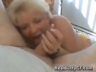 desperate lady exposes her juggs and licks dick