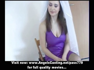 delightful brunette bride delightful talking with