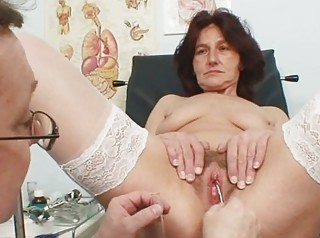 shaggy pussy grandma visits pervy woman medic