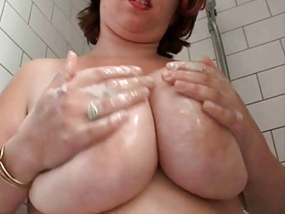 heavy busty bushy wife into the shower