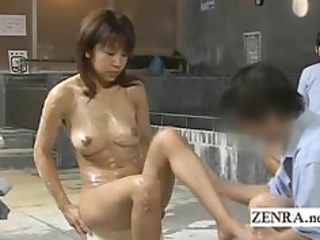 busty lady client bathed at a strange japan