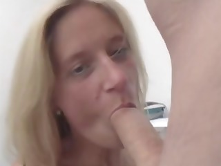 older blonde secretary nibbles on the bosses