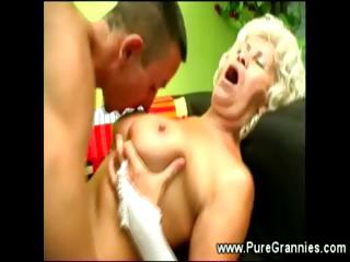 granny furry muff worked with tongue