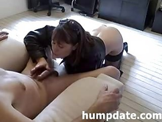 super milf gives lovely dick sucking and handjob