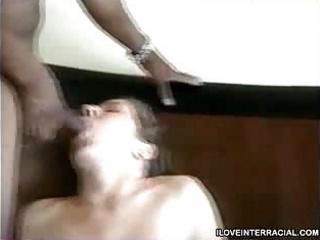 sweetheart woman with two ebony cocks