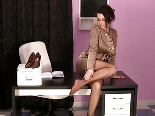 super woman inside the agency having on satin