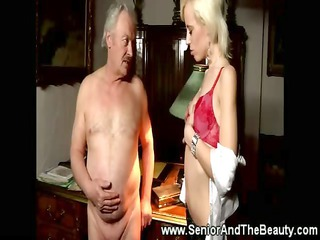 slaggy male gives grandpa an stripshow and