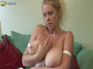 large boobed european mother demonstrates off