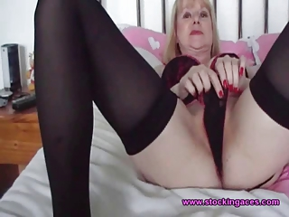 desperate woman into black nylons