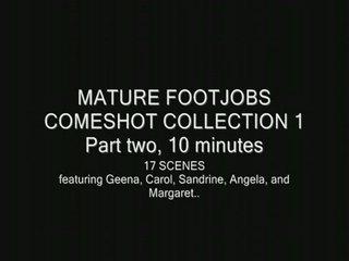mature footjob white cream