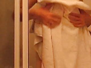 furry grown-up with saggy empty tits inside shower