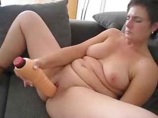 aged pleasing with large sex-toy