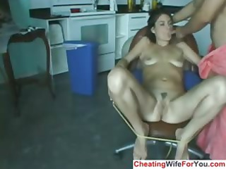 naughty lady get fucked with huge plastic cock