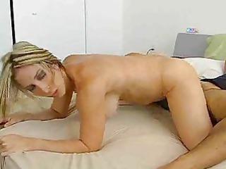 blond girl undresses orange lingerie and humps