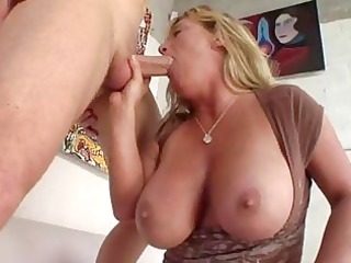 plump chested tanned blonde momma licks strong