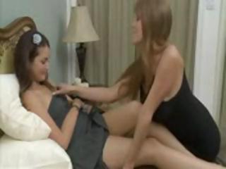 beautiful chick obtains seduced by slutty milf