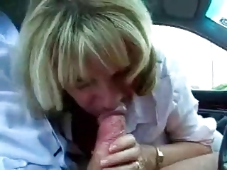 grown-up assistant cheats with her boss at the car
