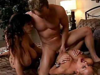 two busty tanned slut with big puppies obtain
