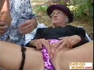 elderly kathy takes gang-banged into the woods