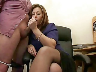 super grown-up assistant jerks the ejaculate from