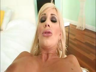 slutty albino woman licks on his dick and after