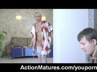 extremely impressive grownup woman caught pushing