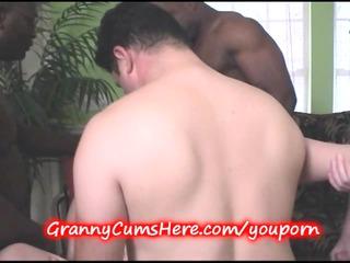 granny gangbanged and inexperienced chick licks