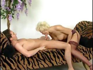 mature bleached whore pleases his stiff libido