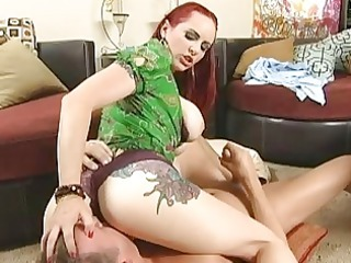 ginger horny angel doing super dick sucking to a