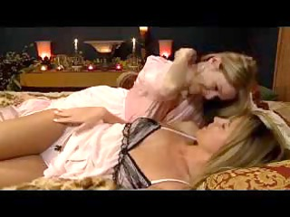 blond babe in robed kissing fingering mature