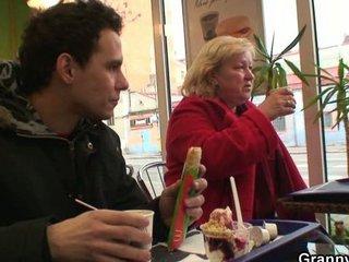 fast food granny gang-banged