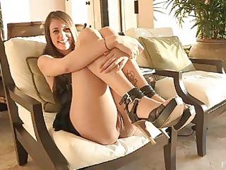 rita delightful brunette woman pleasing cave on