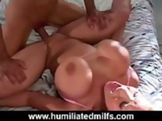 big bossom lady takes gullet gang-banged