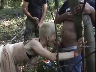 french desperate granny gangbanged outside