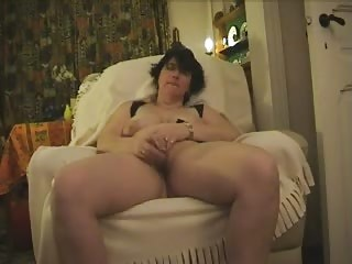 cougar monica plays with glass sex toy and cums