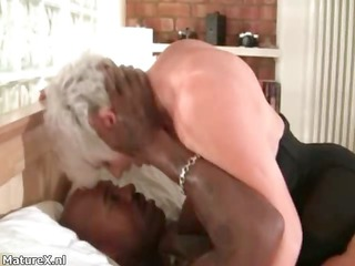 busty grandma worships riding a giant dark