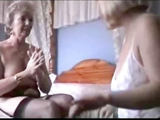 two grannies tease in lingerie and pantyhose