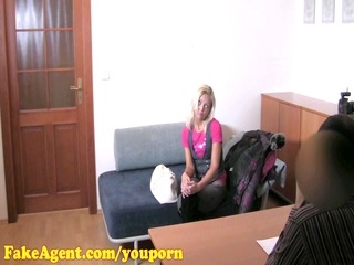 fakeagent hd grown-up blond does arse into casting
