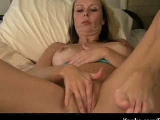 pale woman hand her soggy vagina