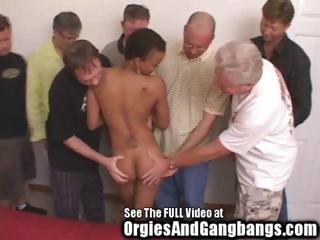 super black milf gangbanged by 7 large penis