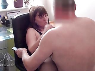 european woman performs on webcam