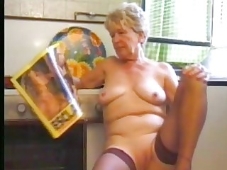 elderly in nylons pleases into the dining room