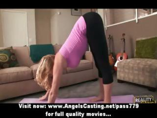 blond older lady does yoga and fellatio for