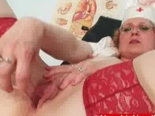 filthy lady inside doctor uniform exposes large