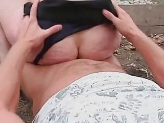 brunette grown-up mom fucked open-air