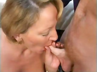 elderly blonde french angel trades head and