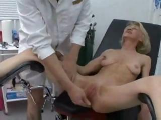 perverted doctor examines all of granny`s holes